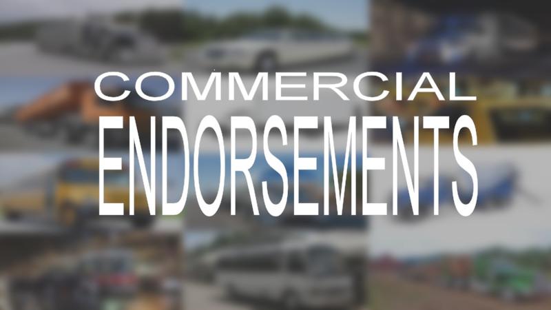 COMMERCIAL ENDORSEMENTS